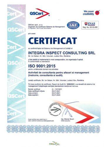 Certificat ISO INTEGRA 9001 1